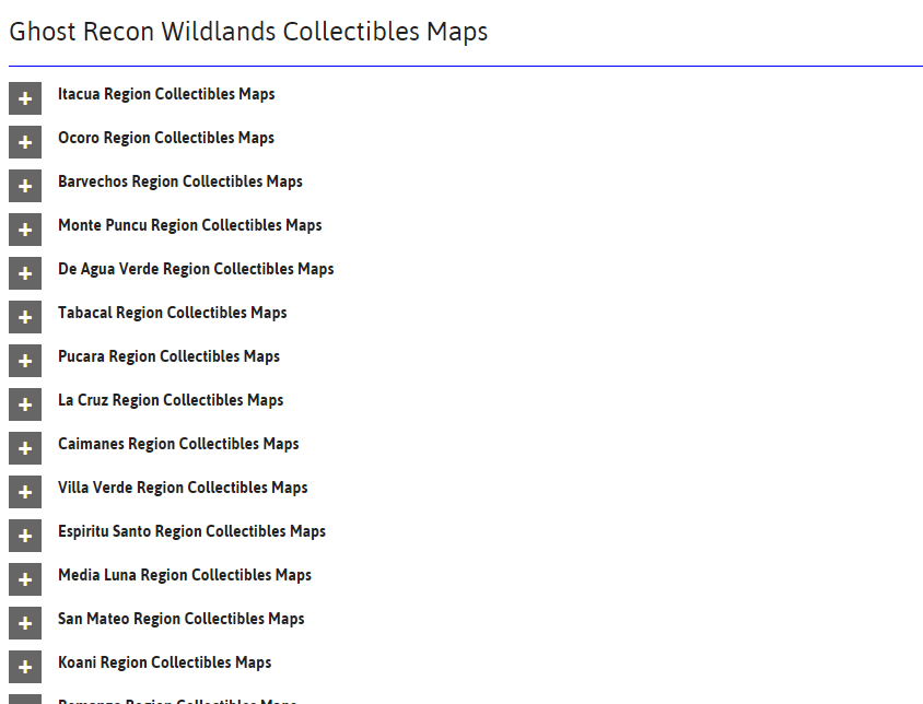 once you select the region a series of mini maps open up revealing the location of skill points supplies rebel ops medals weapons and accessories