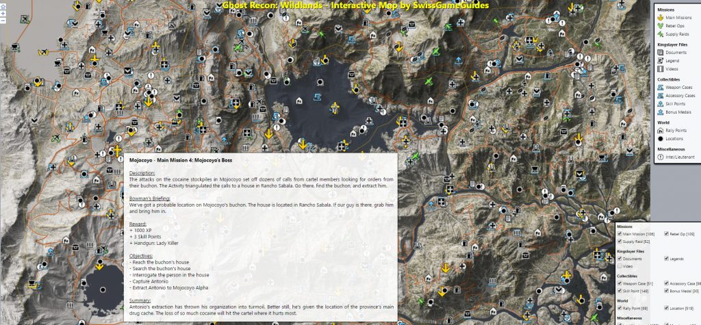 60 million pixel interactive wildlands map ghost recon net each collectible can be toggled on or off using the tick boxes on the right and each icon on the map has mouseover pop ups explaining the detail of the gumiabroncs Choice Image